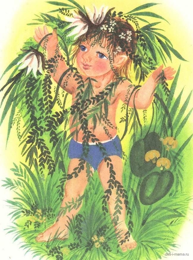 Картинка девочки в зелени с водорослями и речными цветами