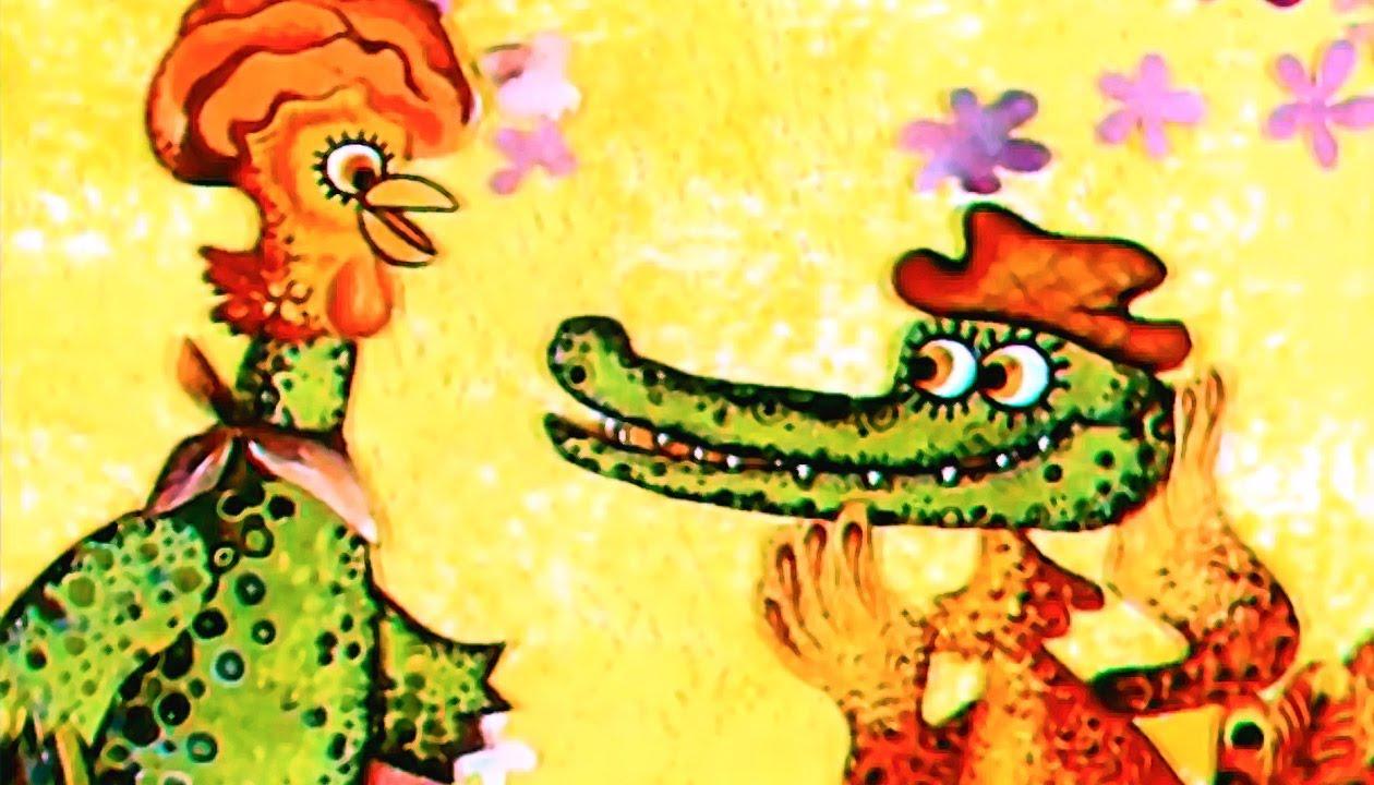 """Иллюстрация к стиху Сапгира """"Крокодил и петух"""""""