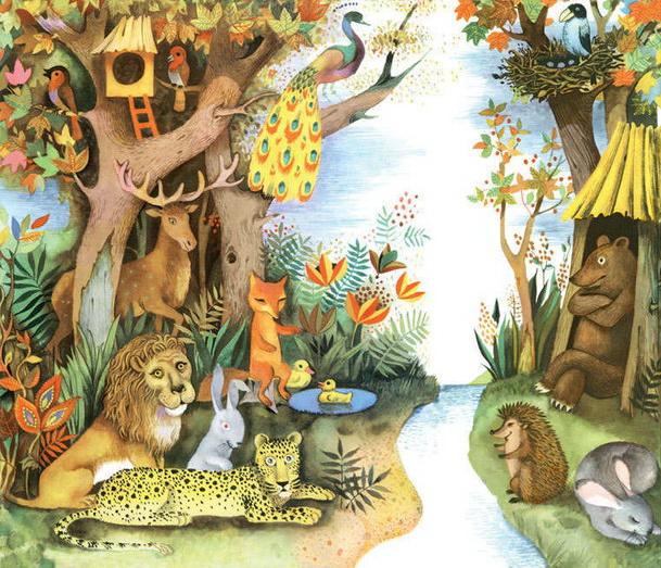 рисунок мирных зверей