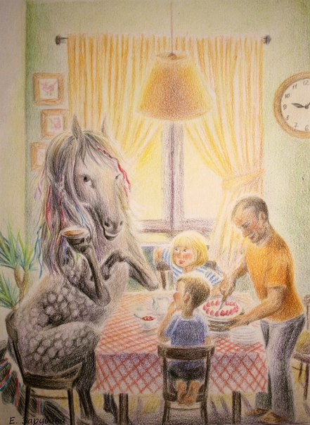 Воспитанная лошадь пьет чай