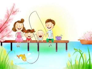 Семья, рыбалка, рыбка, удочка, довольные дети, радостные родители