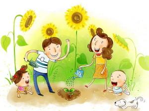 Семья, подсолнухи, дети, улыбки, радость, мама и папа