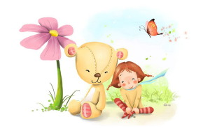 Девочка, сестра, плюшевый мишка, бабочка, цветок, спокойствие, легкость