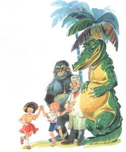 дети, айболит, гарила и крокодил