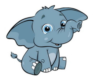 слон серенький улыбается