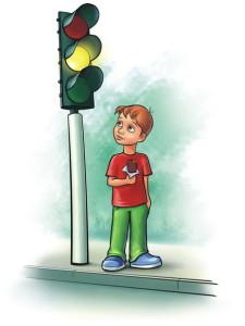 Мальчик и светофор, картинка