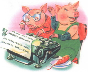 Свинки печатают на машинке