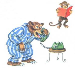 медведь разговаривает по телефону, Чуковский