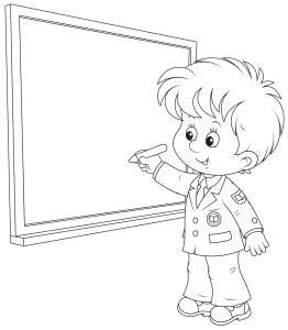 Ученик у классной доски, раскраска