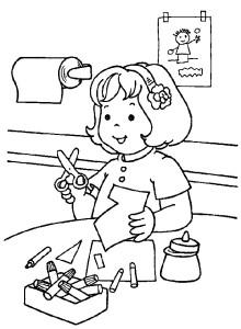 Ученица и урок труда, аппликация, раскраска