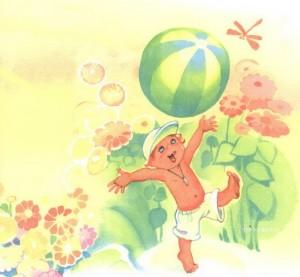 Мальчик с мячиком на лугу
