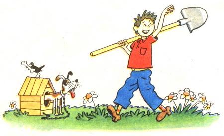 Мальчик веселый с лопатой машет рукой