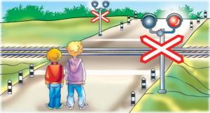 Картинка железнодорожного переезда, на котором стоят дети