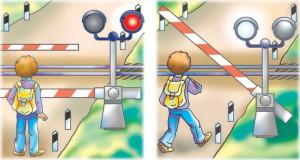 Шлагбаум на железнодорожном переезде, картинка для детей