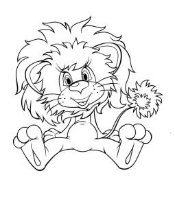 Львёнок, раскраска