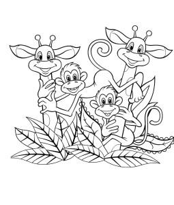 """Раскраска обезьянки и жирафы к мультфильму """"Как Львёнок и Черепаха песню пели"""""""