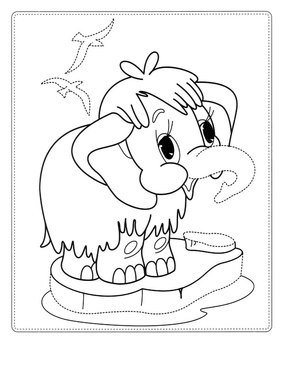Картинка раскраска мамонтенок