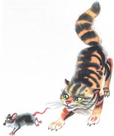 Картинка как кошка ловит мышку
