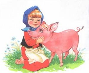 Розовый поросенок и девочка