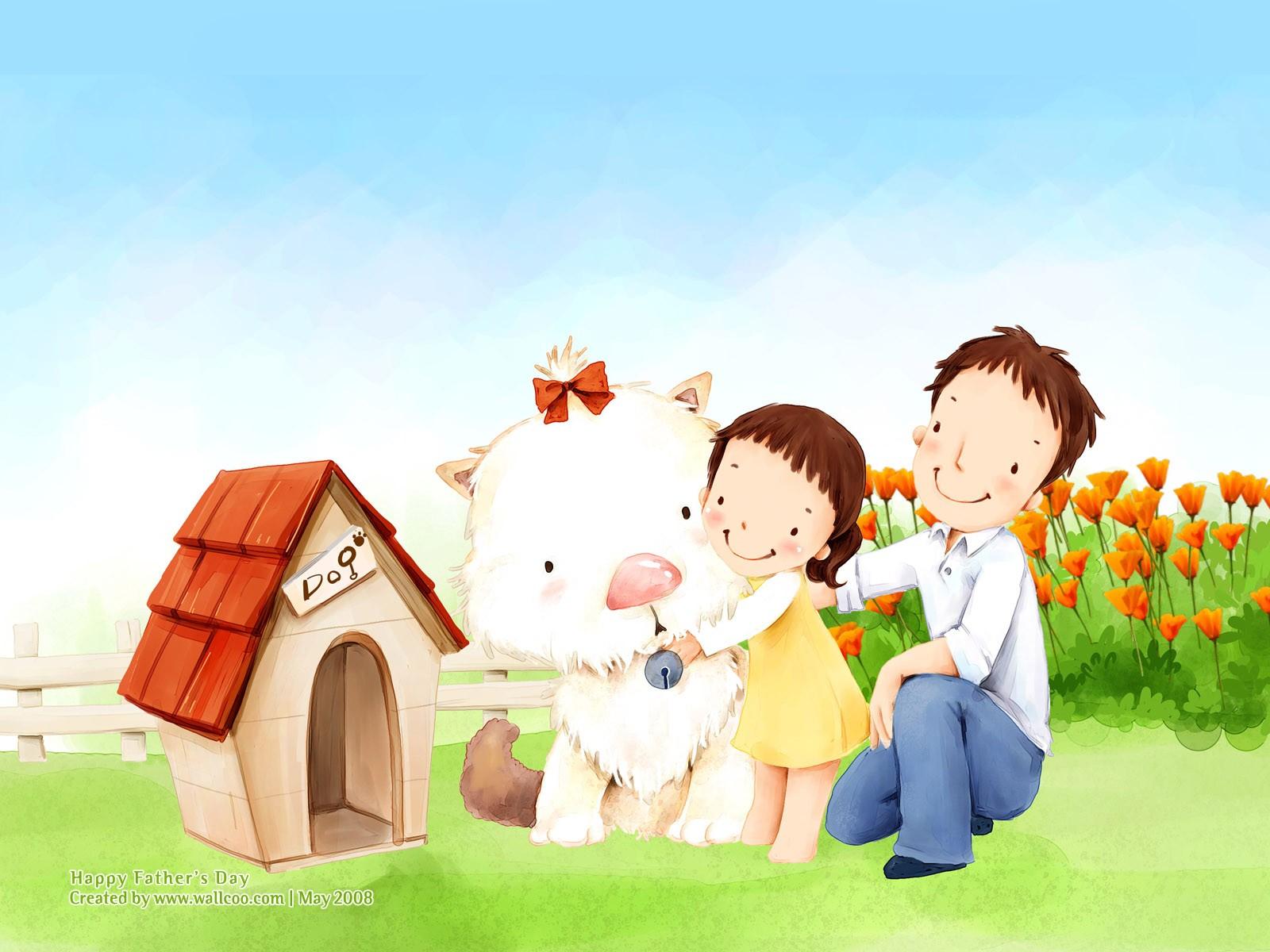 рисунок папы и дочки с собачкой