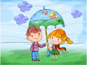 Дружба мальчика и девочки, рисунок