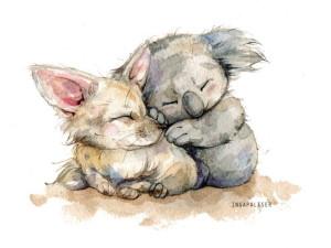 Дружба животных, рисунок коала и лисенок