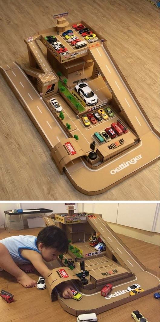 Парковка из коробки для детей своими руками фото 88