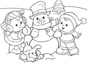 Раскраска снеговик и дети