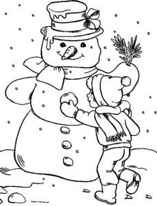 Картинка раскраска снеговика