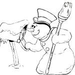 Почтовый ящик и снеговик