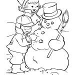 Раскраска деток и снеговика