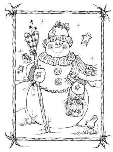 Детский снеговик раскраска
