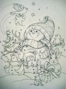 Снеговики в лесу раскраска