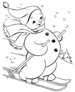 Раскраска снеговичка на лыжах