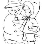 Раскраска снеговичок и девочка