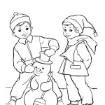Раскраска лепим снеговика