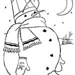 Пузатый снеговик раскраска