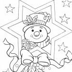 Снеговик в праздничной картине, раскраска