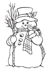 Раскраска Снеговичок в шапке, с шарфом и маленькой птичкой