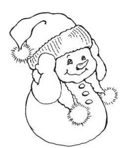 Раскраска маленького снеговика