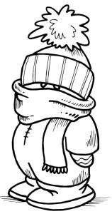 Снеговик в шапке и шарфике раскраска