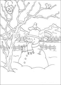 Картина снеговика на природе