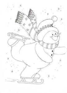 Детская раскраска снеговика на коньках