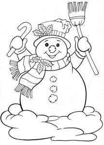 Детская раскраска снеговика