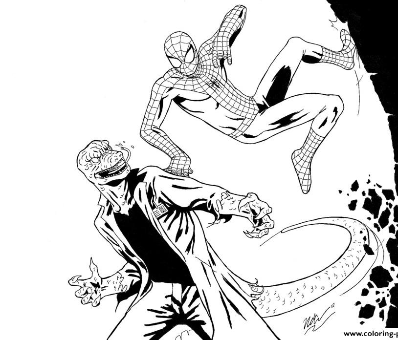 Человек-паук дерется раскраска