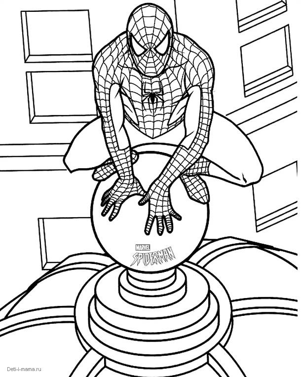 Раскраска Человек-паук сидит на крыше — Deti-i-mama.ru