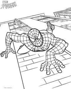 Человек-паук на стене дома раскраска