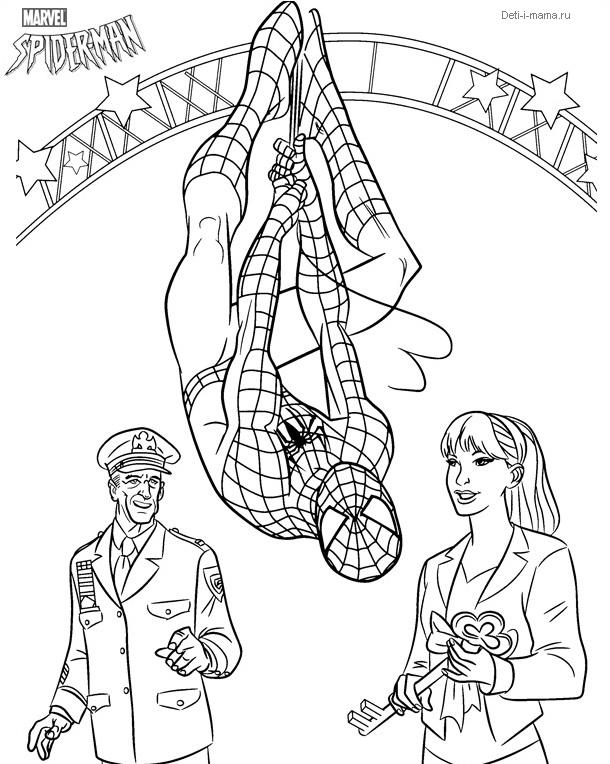 Раскраска с человеком пауком