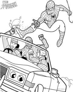 Раскраска Человека-паука с грабителями