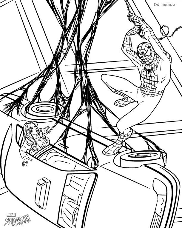 Человек-паук раскраска